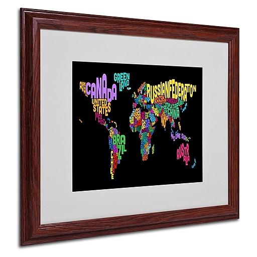 Michael Tompsett 'World Text Map 4' Matted Framed Art - 16x20 Inches - Wood Frame