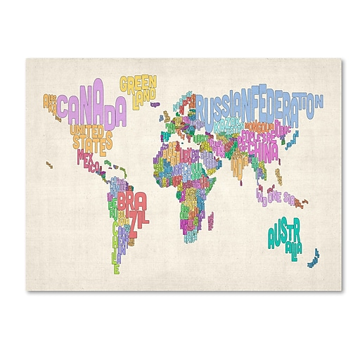Trademark Fine Art Michael Tompsett 'World Text Map 5' Canvas Art 30x47 Inches