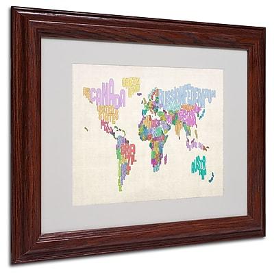Michael Tompsett 'World Text Map 5' Matted Framed Art - 11x14 Inches - Wood Frame