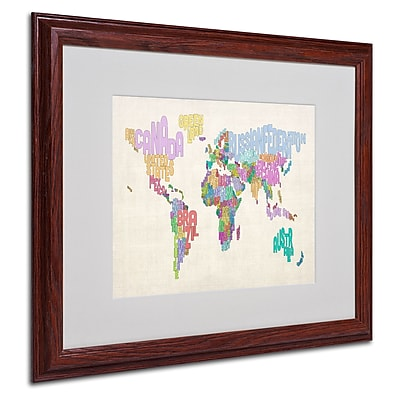 Michael Tompsett 'World Text Map 5' Matted Framed Art - 16x20 Inches - Wood Frame