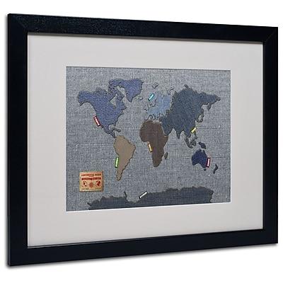 Trademark Fine Art Michael Tompsett 'Denim World Map' Matted Art Black Frame 16x20 Inches