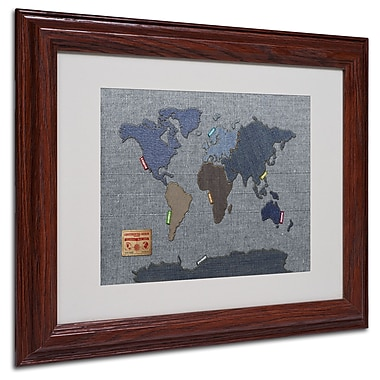Michael Tompsett 'Denim World Map' Matted Framed Art - 11x14 Inches - Wood Frame