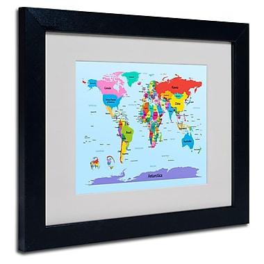 Trademark Fine Art Michael Tompsett 'Childrens World Map' Matted Art Black Frame 11x14 Inches