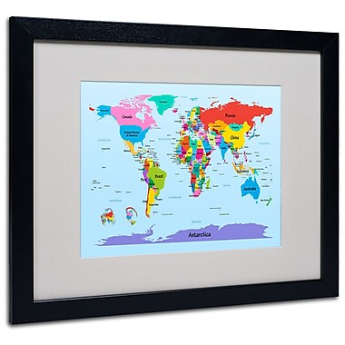 Trademark Fine Art Michael Tompsett 'Childrens World Map' Matted Art Black Frame 16x20 Inches