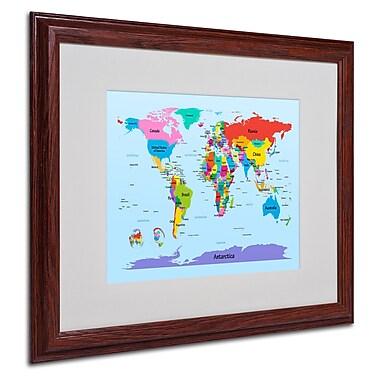 Michael Tompsett 'Childrens World Map' Matted Framed Art - 16x20 Inches - Wood Frame
