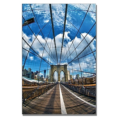 Trademark Fine Art CATeyes 'Brooklyn Bridge' Canvas Art 30x47 Inches