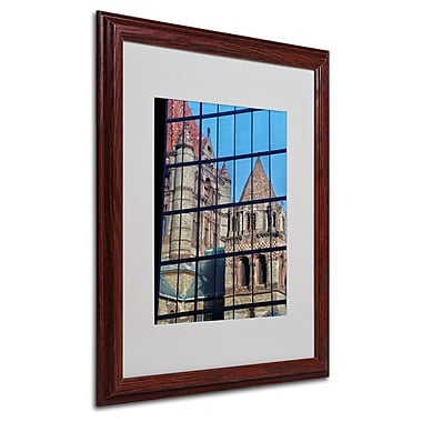 CATeyes 'Trinity Church Reflection' Matted Framed Art - 16x20 Inches - Wood Frame
