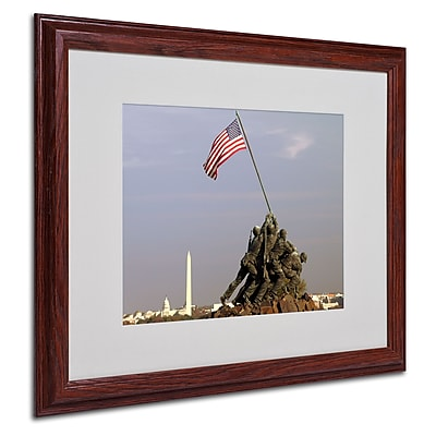 CATeyes 'Marine Corps Memorial' Matted Framed Art - 16x20 Inches - Wood Frame