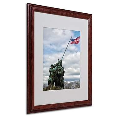 CATeyes 'Marine Corps Memorial 2' Matted Framed Art - 16x20 Inches - Wood Frame