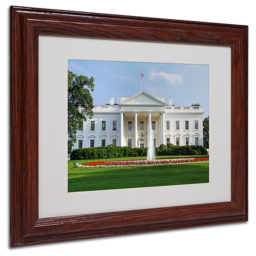 CATeyes 'White House' Matted Framed Art - 11x14 Inches - Wood Frame