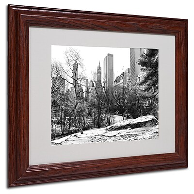 CATeyes 'Central Park' Matted Framed Art - 11x14 Inches - Wood Frame