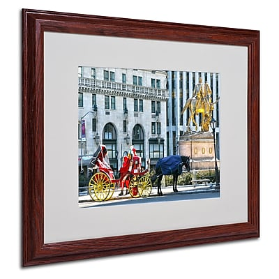 CATeyes 'Central Park 2' Matted Framed Art - 16x20 Inches - Wood Frame
