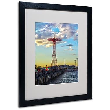 Trademark Fine Art CATeyes 'Coney Island' Matted Art Black Frame 16x20 Inches