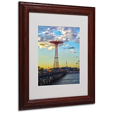 CATeyes 'Coney Island' Matted Framed Art - 11x14 Inches - Wood Frame
