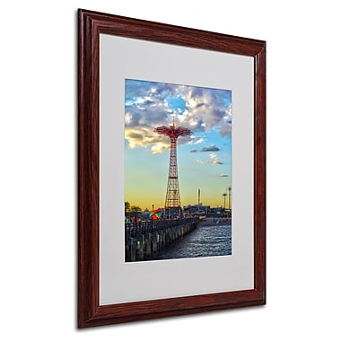 CATeyes 'Coney Island' Matted Framed Art - 16x20 Inches - Wood Frame