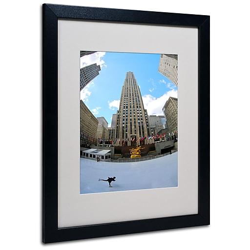 Trademark Fine Art CATeyes 'Rockefeller Center' Matted Art Black Frame 16x20 Inches