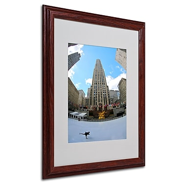CATeyes 'Rockefeller Center' Matted Framed Art - 16x20 Inches - Wood Frame