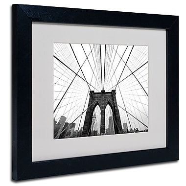 Trademark Fine Art Nina Papiorek 'NYC Brooklyn Bridge' Matted Art Black Frame 11x14 Inches