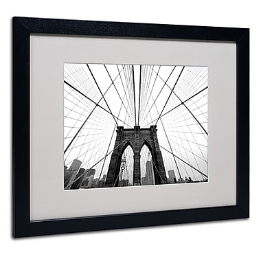 Trademark Fine Art Nina Papiorek 'NYC Brooklyn Bridge' Matted Art Black Frame 16x20 Inches