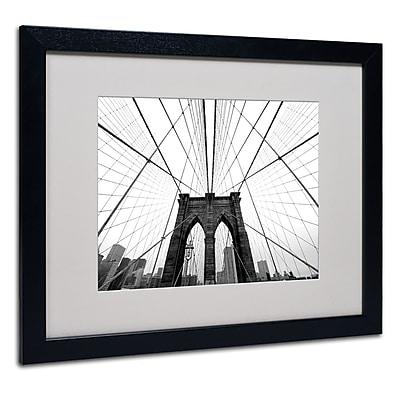 Trademark Fine Art Nina Papiorek 'NYC Brooklyn Bridge' Matted Art Black Frame 16x20 Inches