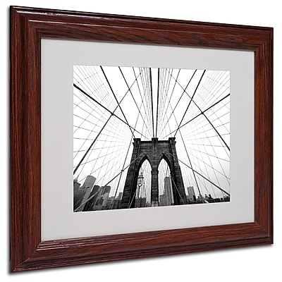 Nina Papiorek 'NYC Brooklyn Bridge' Matted Framed Art - 16x20 Inches - Wood Frame
