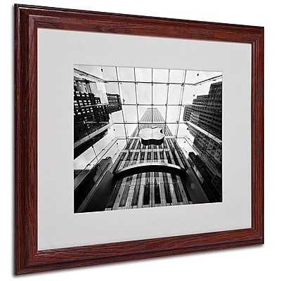 Nina Papiorek 'NYC Big Apple II' Matted Framed Art - 16x20 Inches - Wood Frame