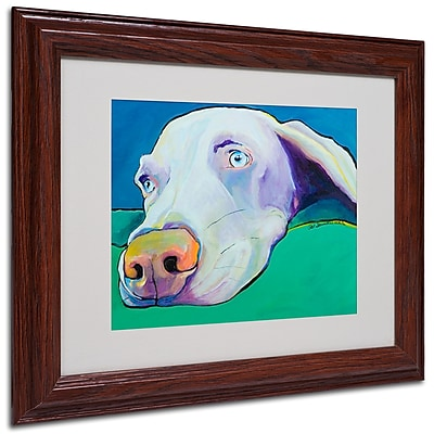 Pat Saunders-White 'Fritz' Framed Matted Art - 11x14 Inches - Wood Frame