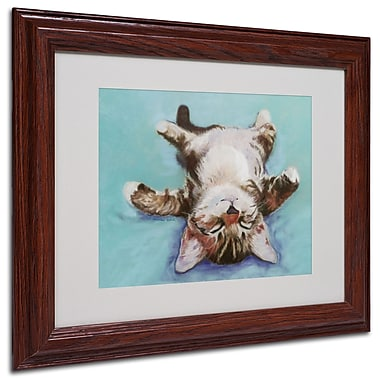Pat Saunders-White 'Little Napper' Framed Matted Art - 11x14 Inches - Wood Frame