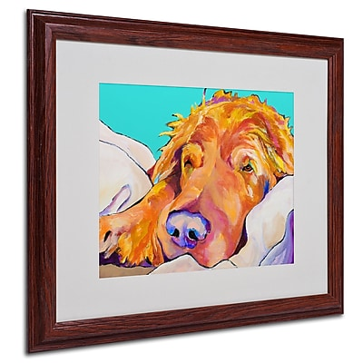 Pat Saunders-White 'Snoozer King' Framed Matted Art - 16x20 Inches - Wood Frame