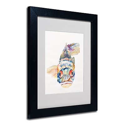 Trademark Fine Art Pat Saunders-White 'Blue Fish' Matted Art Black Frame 11x14 Inches