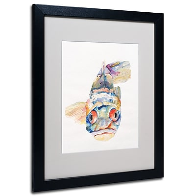 Trademark Fine Art Pat Saunders-White 'Blue Fish' Matted Art Black Frame 16x20 Inches