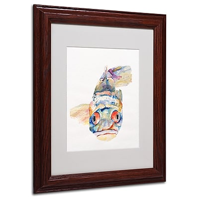 Pat Saunders-White 'Blue Fish' Framed Matted Art - 11x14 Inches - Wood Frame