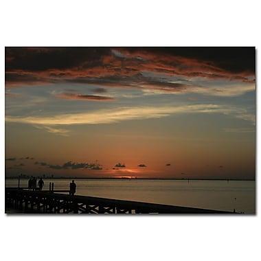 Trademark Fine Art Bay Sunset by Patty Tuggle Ready To Hang Art