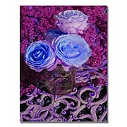 """Trademark Fine Art 'Blue and Pink Roses' 22"""" x 32"""" Canvas Art"""