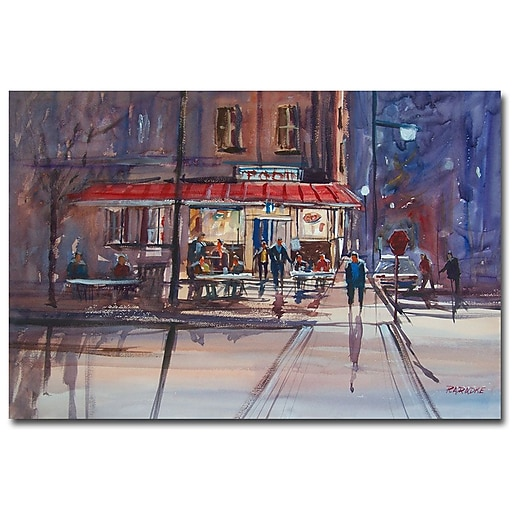 Trademark Fine Art Ryan Radke 'Night Cafe' Canvas Art 30x47 Inches