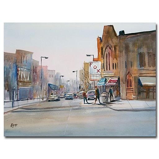 Trademark Fine Art Ryan Radke 'Steven's Point Downtown' Canvas Art 35x47 Inches