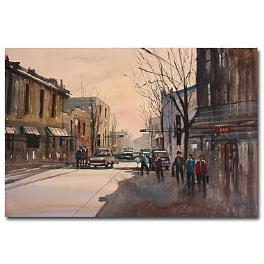 Trademark Fine Art Ryan Radke ' Walking in the Shadows Fond du Lac' Canvas Art 16x24 Inches