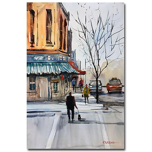Trademark Fine Art Ryan Radke 'Walking the Dog Steven's Point' Canvas Art 22x32 Inches