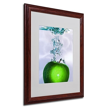 Roderick Stevens 'Apple Splash II' Framed Matted Art - 16x20 Inches - Wood Frame