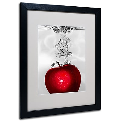 Trademark Fine Art Roderick Stevens 'Red Apple Splash' Matted Art Black Frame 16x20 Inches
