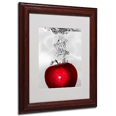 Roderick Stevens 'Red Apple Splash' Framed Matted Art - 11x14 Inches - Wood Frame