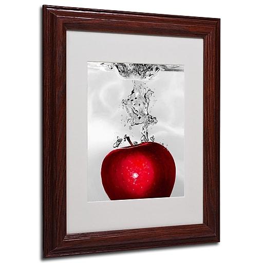 Roderick Stevens 'Red Apple Splash' Framed Matted Art - 11x14 Inches - Wood Frame