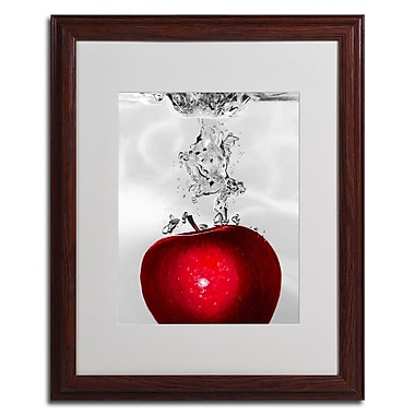 Roderick Stevens 'Red Apple Splash' Framed Matted Art - 16x20 Inches - Wood Frame