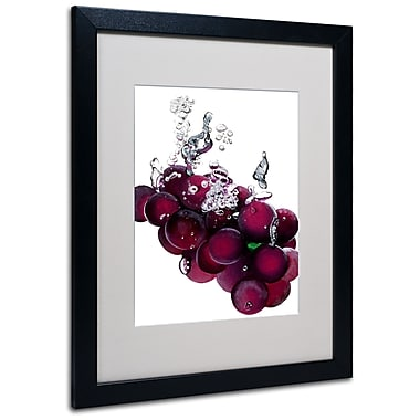 Trademark Fine Art Roderick Stevens 'Grapes Splash II' Matted Art Black Frame 16x20 Inches