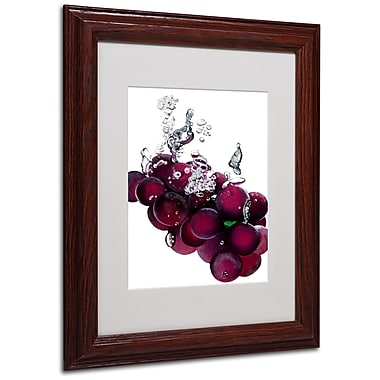 Roderick Stevens 'Grapes Splash II' Framed Matted Art - 11x14 Inches - Wood Frame