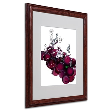 Roderick Stevens 'Grapes Splash II' Framed Matted Art - 16x20 Inches - Wood Frame