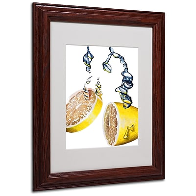 Roderick Stevens 'Lemon Splash II' Framed Matted Art - 11x14 Inches - Wood Frame