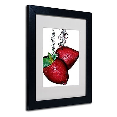 Trademark Fine Art Roderick Stevens 'Strawberry Splash II' Matted Art Black Frame 11x14 Inches