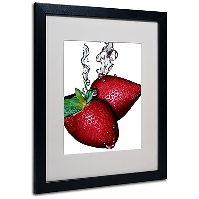 Trademark Fine Art Roderick Stevens 'Strawberry Splash II' Matted Art Black Frame 16x20 Inches