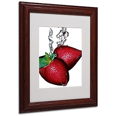 Roderick Stevens 'Strawberry Splash II' Framed Matted Art - 11x14 Inches - Wood Frame
